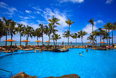 Swimming pool on Waikiki beach, Hawaii royalty free stock images