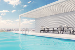 Swimming pool with white armchairs, clouds. Row of white armchairs is standing along a swimming pool. A blue sky with clouds is above them. 3d rendering mock up Stock Images