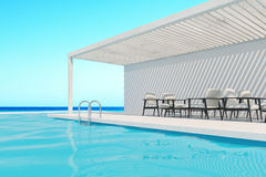 Swimming pool with white armchairs, side. Row of white armchairs is standing along a swimming pool. A cloudless sky is above them. 3d rendering mock up Stock Photography