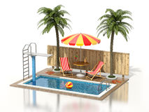 Swimming pool. On white reflective background - 3D illustration Stock Photos
