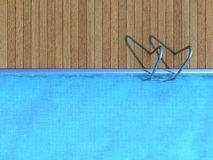 Swimming pool with wooden deck. Summer concept Stock Photography