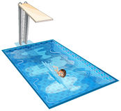 A swimming pool with a young boy. Illustration of a swimming pool with a young boy on a white background Stock Photos
