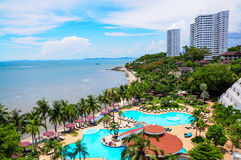 Swimming pools and bar at the beach of luxury hotel, Pattaya, Royalty Free Stock Photos