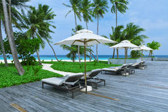 Swimming pools beach resorts, Maldives Island Royalty Free Stock Photography