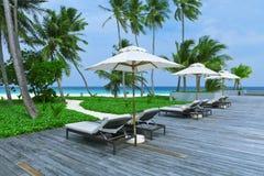 Swimming pools beach resorts, Maldives Island Royalty Free Stock Photography