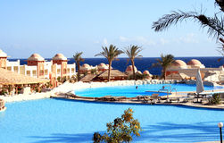 Swimming-pools in a hotel. Swimming-pools are under the opened sky ashore the Red sea Stock Photos