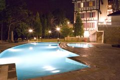 Swimming Pools at Night stock images
