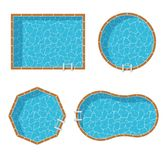 Swimming Pools Top View Set Isolated On White Background Royalty Free Stock Images