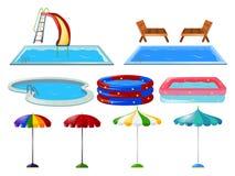Swimming pools and umbrellas Stock Image
