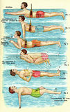 Swimming preparation, old print. Vintage illustration, learning to swim Royalty Free Stock Photos