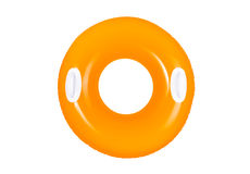 Swimming ring. Orange inflatable swimming ring for pool isolated on white royalty free stock photo