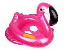 Swimming ring, pink flamingo. Swimming ring in shape of pink flamingo isolated on white stock images