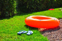 Swimming ring in the sun. Orange swimming ring laying in the gras Royalty Free Stock Photography