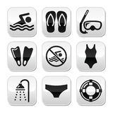 Swimming, Scuba Diving, Sport Buttons Set Stock Photography