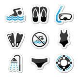 Swimming, scuba diving, sport  icons set Royalty Free Stock Image