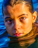 Swimming in the sea Royalty Free Stock Photos