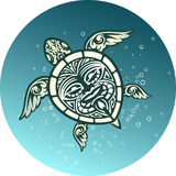 Swimming sea turtle with Polynesian tribal pattern Royalty Free Stock Photography