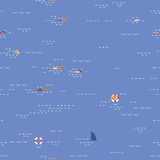 Swimming seascape seamless pattern Royalty Free Stock Photo