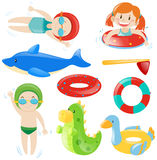 Swimming set with swimmers and equipment Royalty Free Stock Image