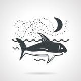 Swimming shark black vector icon Stock Photography