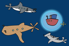 Swimming with Sharks. Illustration of a boat swimming with three different kinds of sharks Royalty Free Stock Image