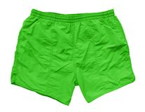 Swimming shorts - green. Green swimming shorts isolated on white with Clipping Path Royalty Free Stock Photo
