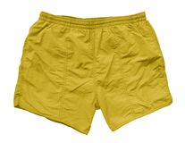 Swimming shorts - yellow. Yellow swimming shorts isolated on white with Clipping Path Royalty Free Stock Photos