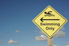 Swimming only sign Royalty Free Stock Photo