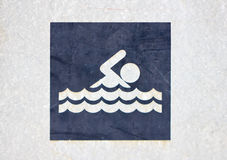 Swimming Sign. Swimming Recreational Sign At Public Park royalty free stock photography
