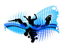 Swimming Silhouette Illustration. Image of a Swimming Silhouettes with Water Background Royalty Free Stock Images
