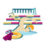 Swimming Sport Concept Icon Flat Design. Water swim crawl in pool, man fitness, health athlete, swimmer and competition, person sportsman, professional Stock Images