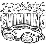 Swimming sports sketch. Doodle style swimming sports illustration. Includes text and goggles Royalty Free Stock Photo