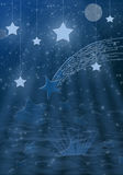 Swimming stars. A piece of the stars' nightlife Royalty Free Stock Photos
