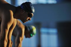 Swimming start. Start position race concept with fit swimmer on swimming pool royalty free stock image