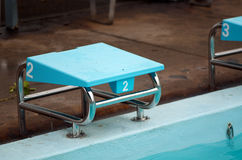 Swimming starting block Royalty Free Stock Photo