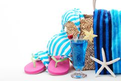 Swimming suit. Beach bag with swimming suit on white background Royalty Free Stock Photos