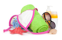 Swimming suit and beach items. Isolated on white background stock images