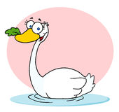 Swimming Swan With A Leaf In Its Beak. Cartoon Character Swan With A Leaf In Its Beak stock illustration