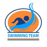 Swimming team logo. This logo can be used for sports teams and sports events Royalty Free Stock Photography