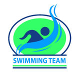 Swimming team logo with a green background. Swimming team logo with green a green background. This logo can be used for sports teams and sports events Stock Photo