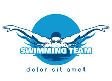 Swimming Team Vector Logo. Swimming Logo. Swimmer icon with caption. Swimming or Swimmer Logo. Vector illustration Stock Image