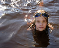 Swimming teen portrait. Swimming portrait in Swedish lake Stock Images