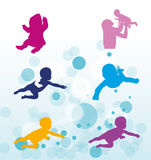 Swimming toddlers Royalty Free Stock Images