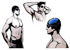 Swimming Trio. The Illustration of the three Swimmers Royalty Free Stock Image