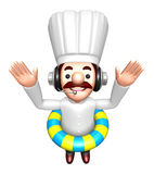 A Swimming Tubes in 3D Chef Character. Work and Job Character De Stock Photo