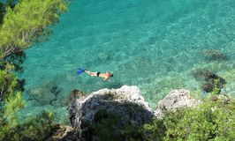 Swimming in the turquoise water Royalty Free Stock Images