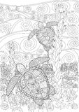 Swimming turtle for anti stress Coloring. Swimming sea turtle for anti stress Coloring Page with high details, isolated on the underwater oceanic background Stock Images