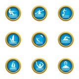 Swimming in water icons set, flat style. Swimming in water icons set. Flat set of 9 swimming in water vector icons for web isolated on white background stock illustration