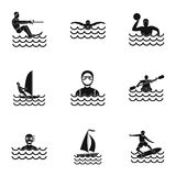 Swimming on water icons set, simple style Royalty Free Stock Photography
