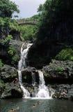 Swimming at a waterfall. Swimmers, Oheo Gulch (7 Pools), Haleakala NP, Maui royalty free stock photos